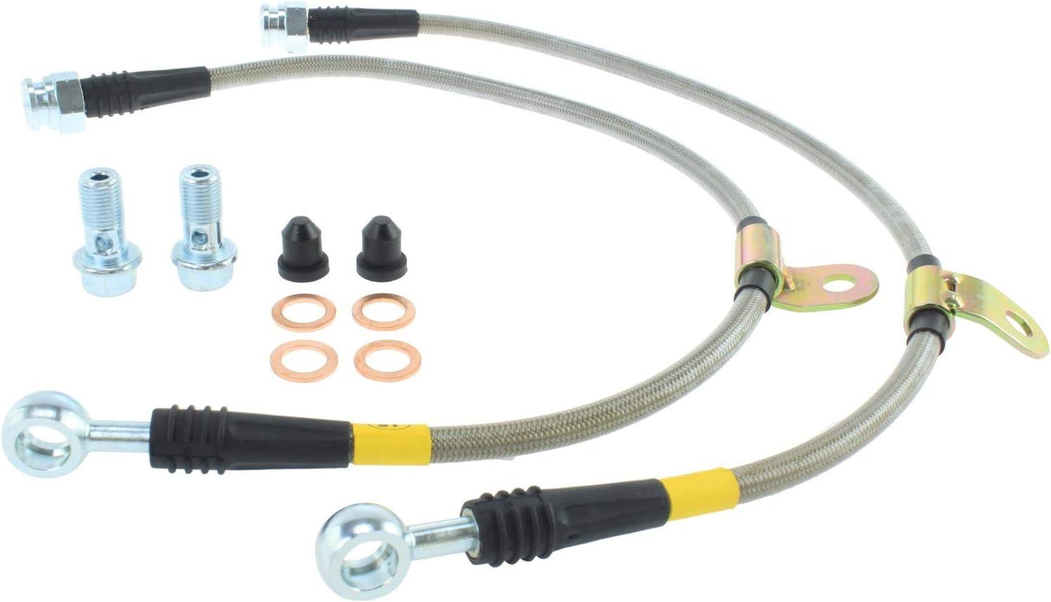 Silver Hose /& Stainless Green Banjos Pro Braking PBK2159-SIL-GRE Front//Rear Braided Brake Line