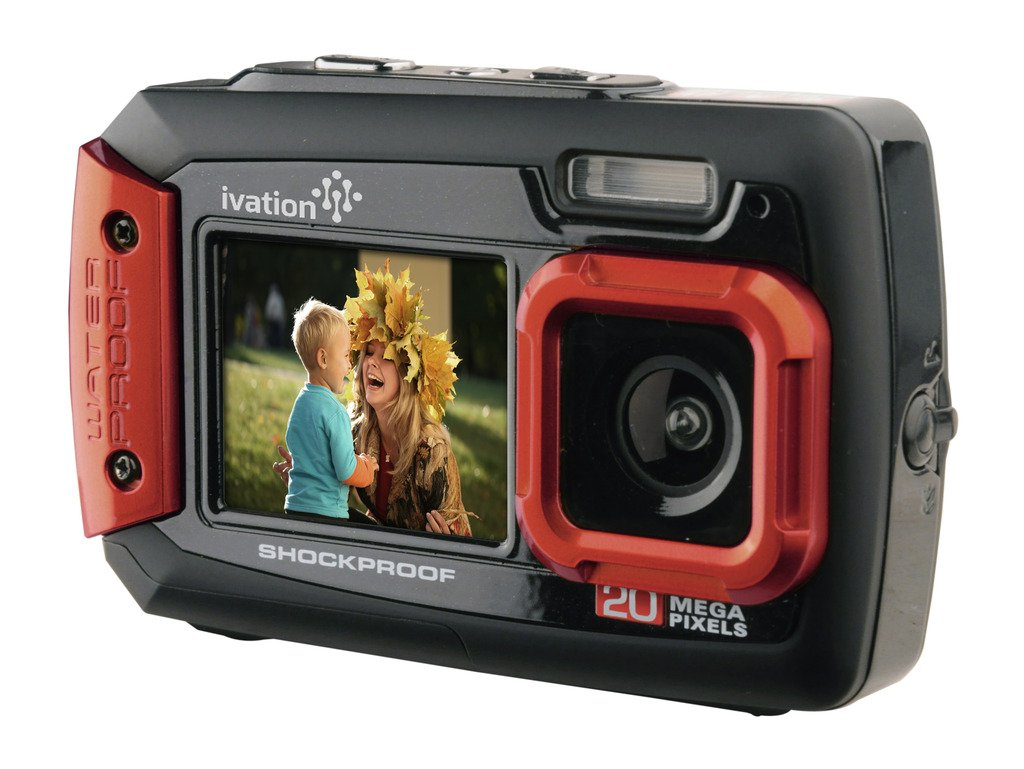 Ivation 20MP Underwater Shockproof Digital Camera & Video Camera w/Dual Full-Color LCD Displays – Fully Waterproof & Submersible Up to 10 Feet (Red) IV-WPDC20R