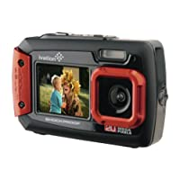 Ivation 20MP Underwater Shockproof Digital Camera & Video Camera w/Dual Full-Color LCD Displays – Fully Waterproof & Submersible Up to 10 Feet (Red)