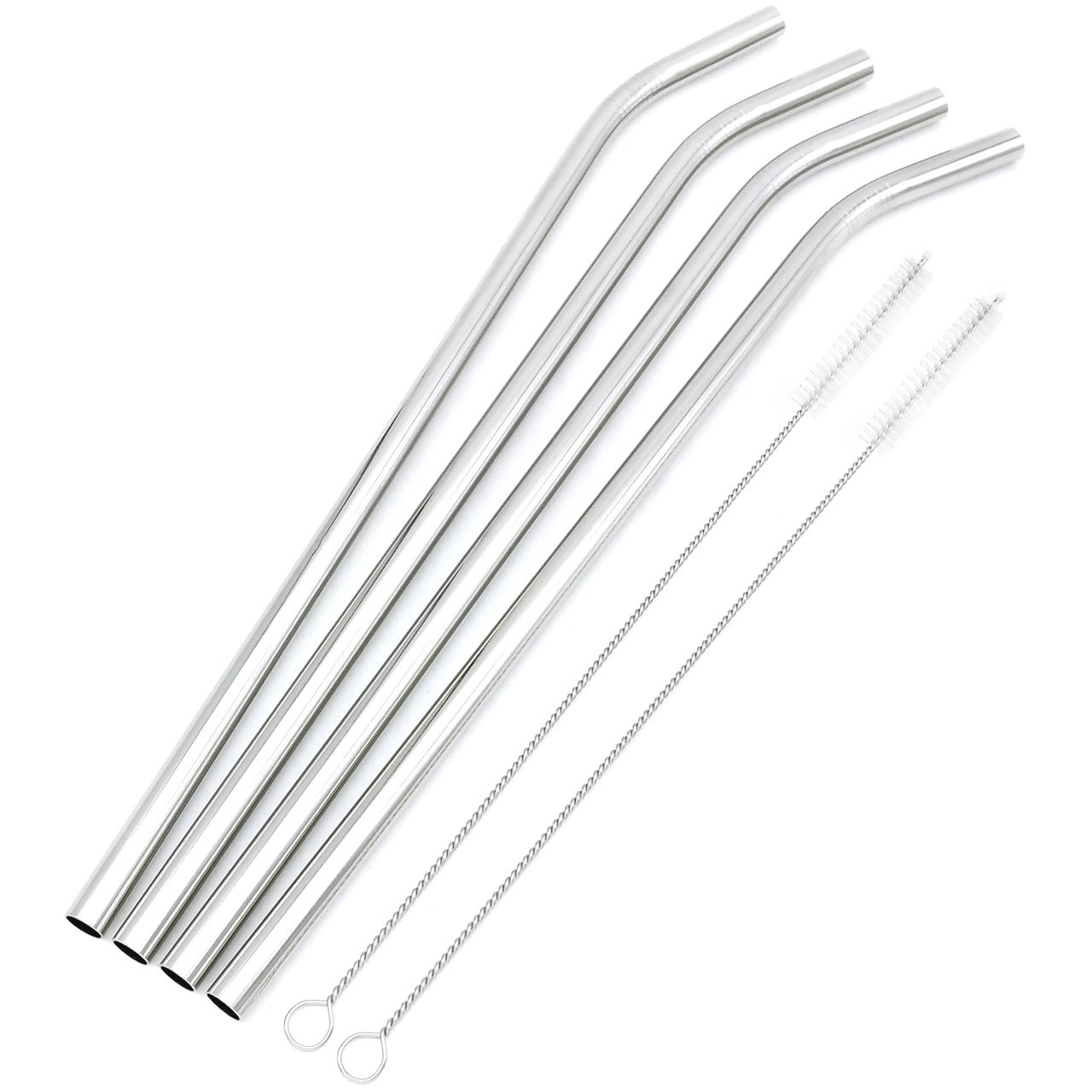 Big Drinking Straws Reusable 12'' Extra Long 9mm Extra Wide SUS 304 Food-Grade 18/8 Stainless Steel - Set of 4 with 2 Cleaning Brushes - Bent by GFDesign