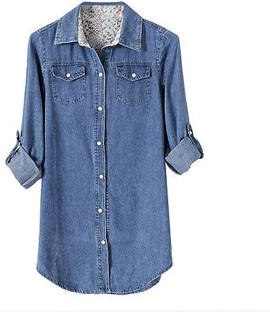 Eleery - Camisa tejana para mujer de tejido denim, de manga larga
