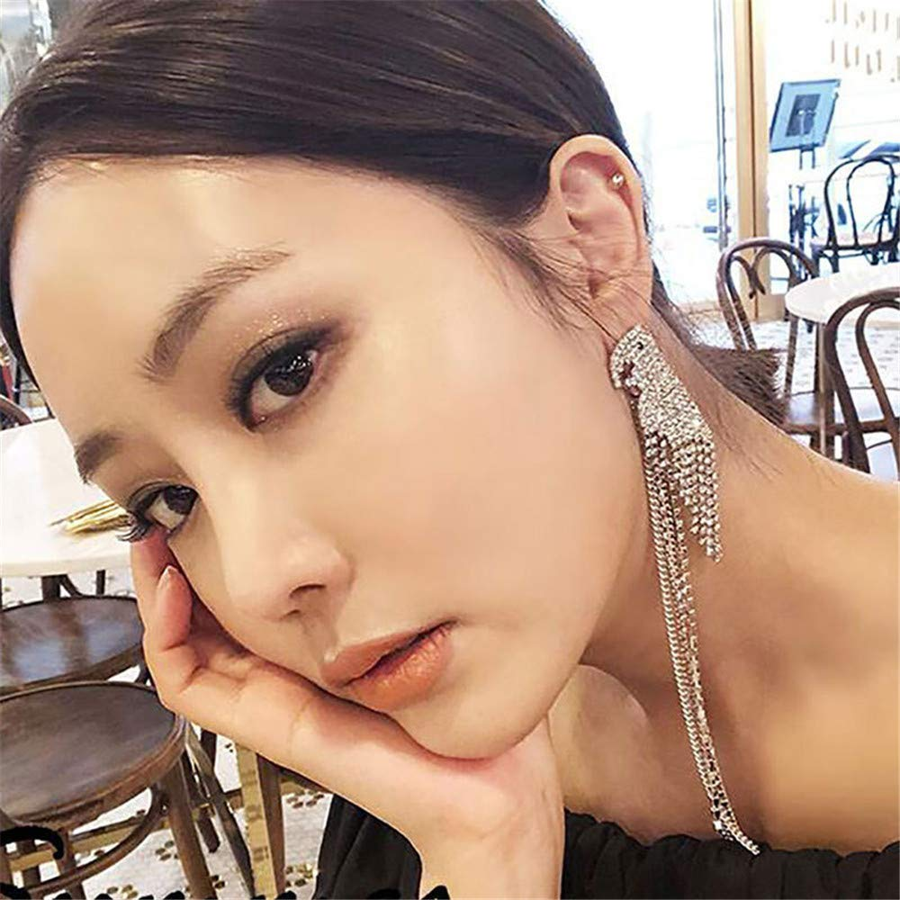 Asymmetrical earrings super flash zircon parrot tassel 925 long super fairy exaggerated asymmetric earrings female
