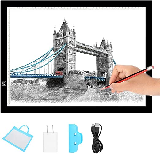 Simlug Caja de luz portátil A3, Tablero de trazado LED Ultra Delgado Plantilla de diseño de Arte Dibujo Thin Pad Copia Lightbox: Amazon.es: Hogar
