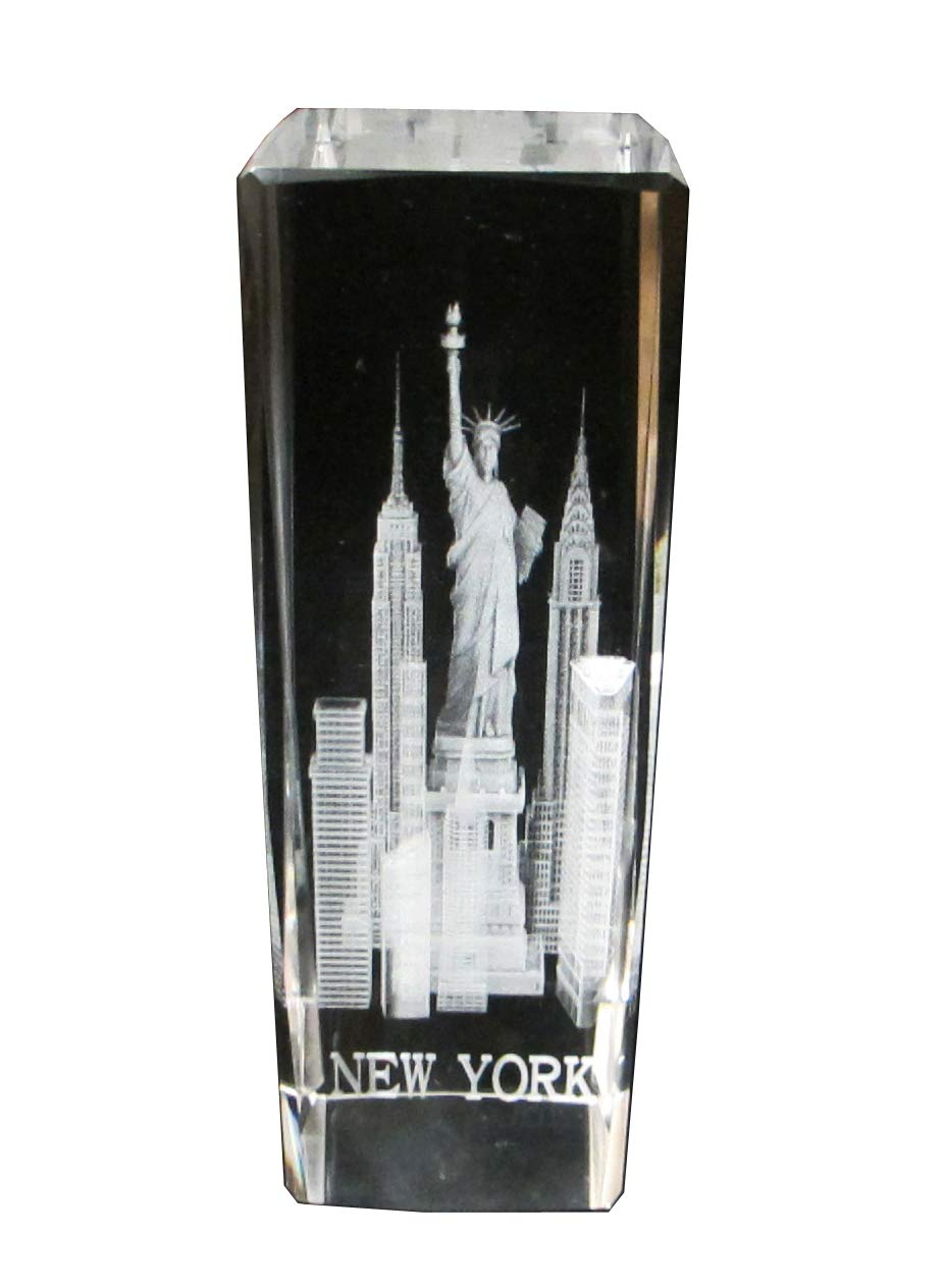 """New York Souvenir 3D Clear Crystal Laser Etched Glass Paperweight with Statue of Liberty Empire State Building Freedom Tower Extra Large Size 6"""" H x 2"""" W x 2"""" D"""