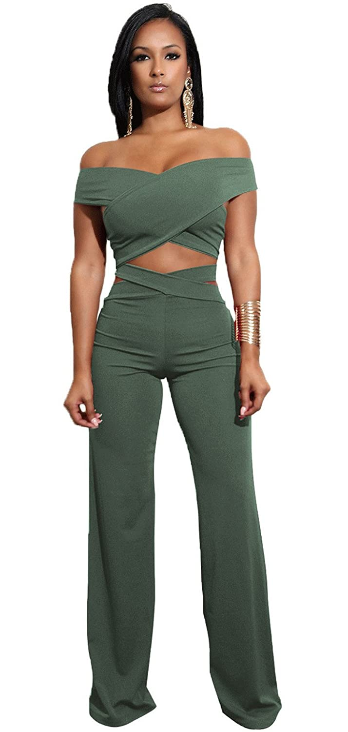 a68c9c8548b Sexy Two Piece 2 PCS Short Sleeve Off The Shoulder Cross Wrap Front Cut Out  Cropped Crop Blouse Shirt Top And Highwaist High Waist Palazzo Wide Leg  Pants ...