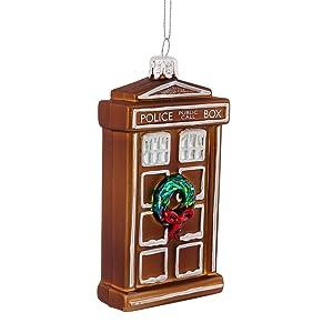 """Kurt Adler 4.5"""" Doctor Who Glass Gingerbread TARDIS Ornament"""