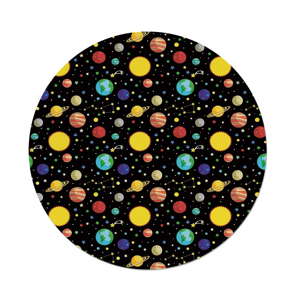 iPrint Polyester Round Tablecloth,Space,Comets and Constellations Stars with Polka Dots Earth Sun Saturn Mars Solar System,Multicolor,Dining Room Kitchen Picnic Table Cloth Cover,for Outdoor Indoor