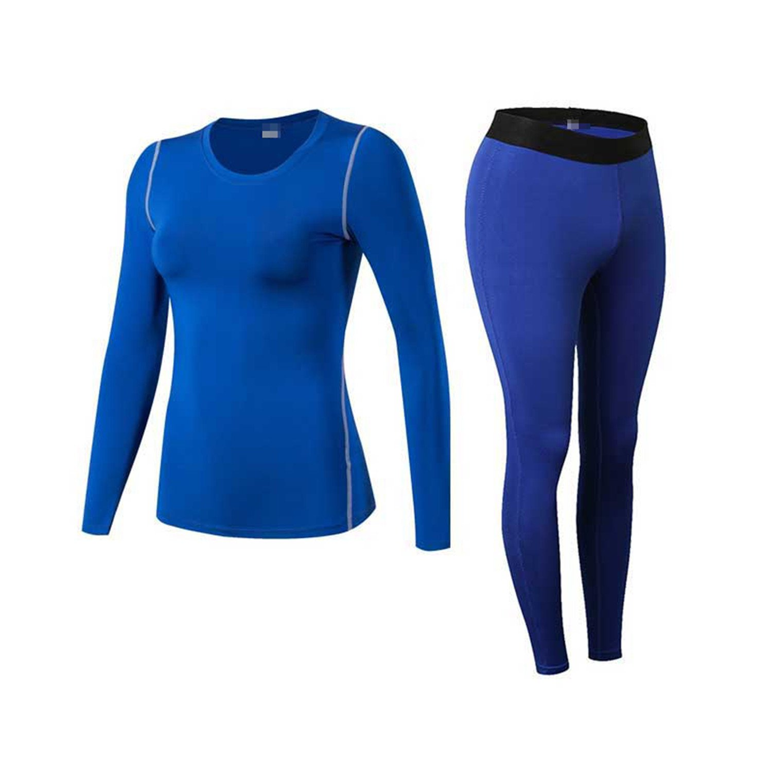 Dapengzhu Thermal Underwear Women Winter Quick Dry Anti-microbial Stretch Thermo Sporting Underwear Sets Fitness Gymming Long 1920 Blue XL