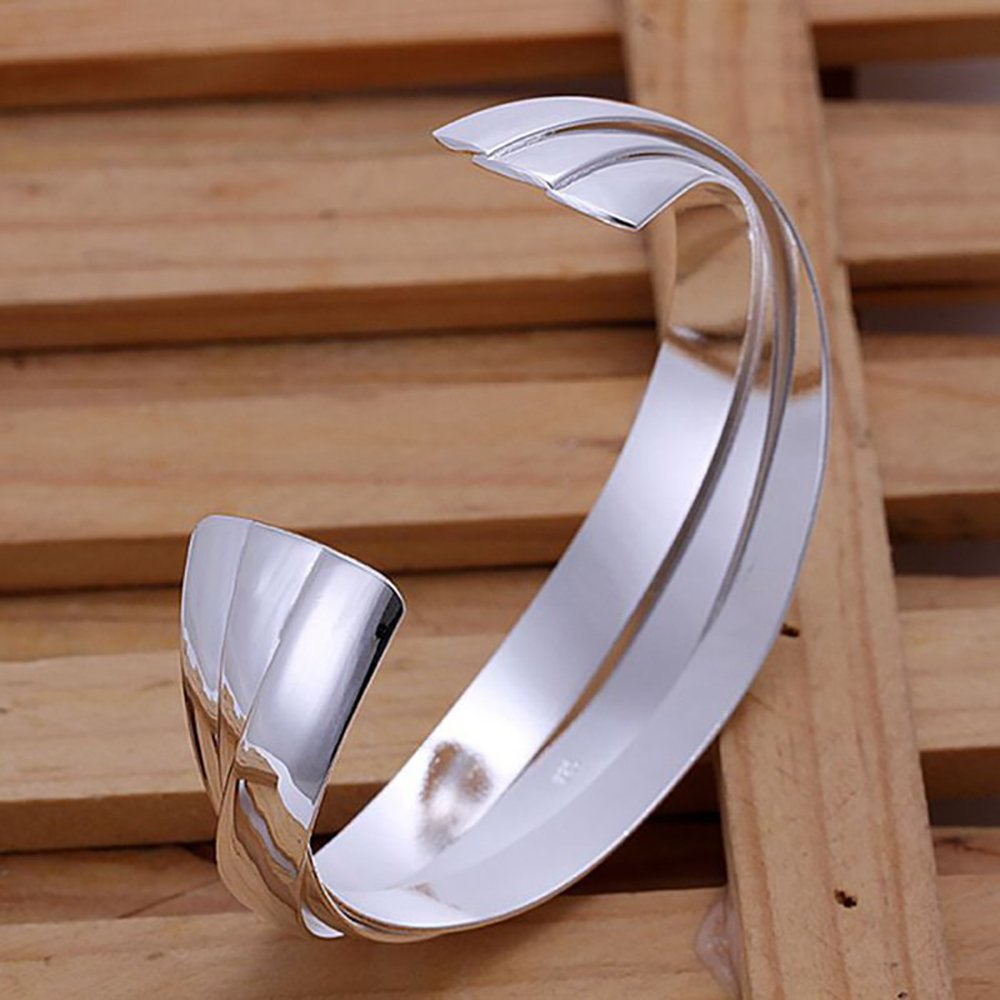 SIENNA693 Silver Plated Bangle Bracelets Triple Pieces Bangle 925 Silver Jewelry Gift for BFF SU635