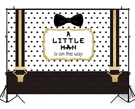 d80a5af25c2c6 Funnytree 8X6ft Black and Gold Little Man Baby Shower Backdrop Boy Bow Tie  Gentleman Party Background Mustache Polka Dots Photography Photo Booth Cake  ...