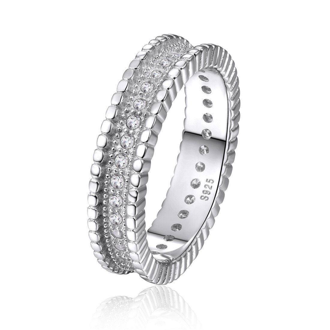 CZ 925 Sterling Silver Stackable Eternity Ring Cubic Zirconia Wedding Engagement Band for Women-Size 9