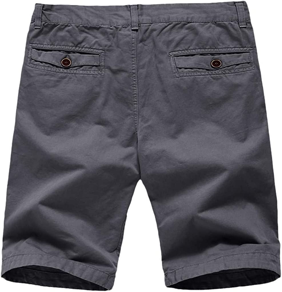 Mens Pure Color Button-Pocket Overalls Wind Overalls Shorts