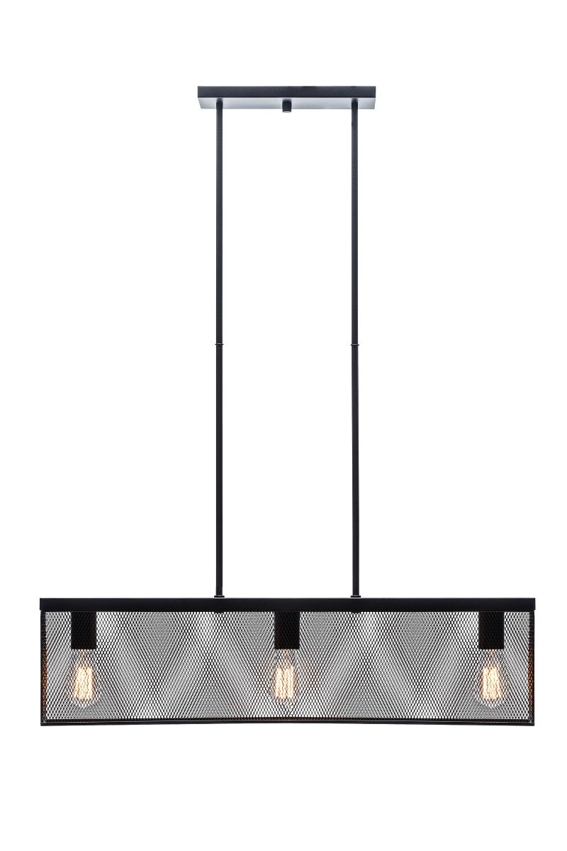 Globe Electric 32'' 3-Light Linear Metal Mesh Shade Pendant, Black Finish, 3 x 60W A19 Bulb (sold separately), 65019