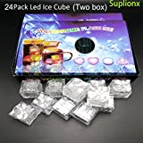 24PCS IPX7 Waterproof Led Lighting Flashing Multi-Color Liquid Sensor Ice Cube Lights for Bar Club Drinking Party Wine Wedding Decoration