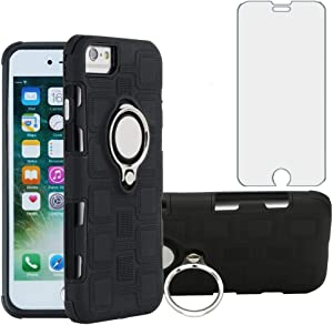 Phone Case for Apple iPhone 6/6s/7/8 with Tempered Glass Screen Protector Cover and Stand Ring Holder Slim Hybrid Hard Cell Accessories iPhone7case Phone8case Six Seven 6a i6 i7 i8 7s 8s S Cases Black