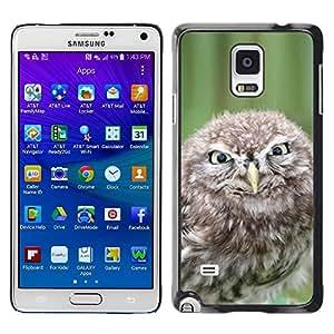 TopCaseStore / la caja del caucho duro de la cubierta de protección de la piel - Funny Evil Owl - Samsung Galaxy Note 4 SM-N910