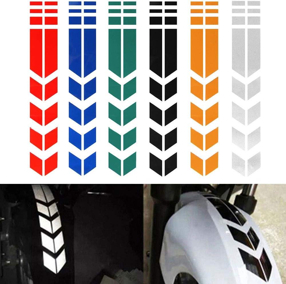 calcoman/ías para Guardabarros,Amarillo zhuangyulin6 Pegatinas Reflectantes Impermeables para Motocicleta calcoman/ías para calcoman/ías de Guardabarros de Motocicleta