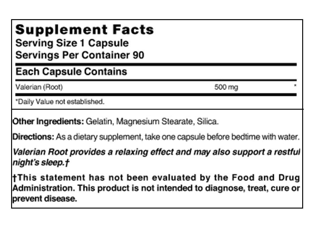 Nature's Blend Valerian Root 500 mg, 90 Capsules (Pack of 5)