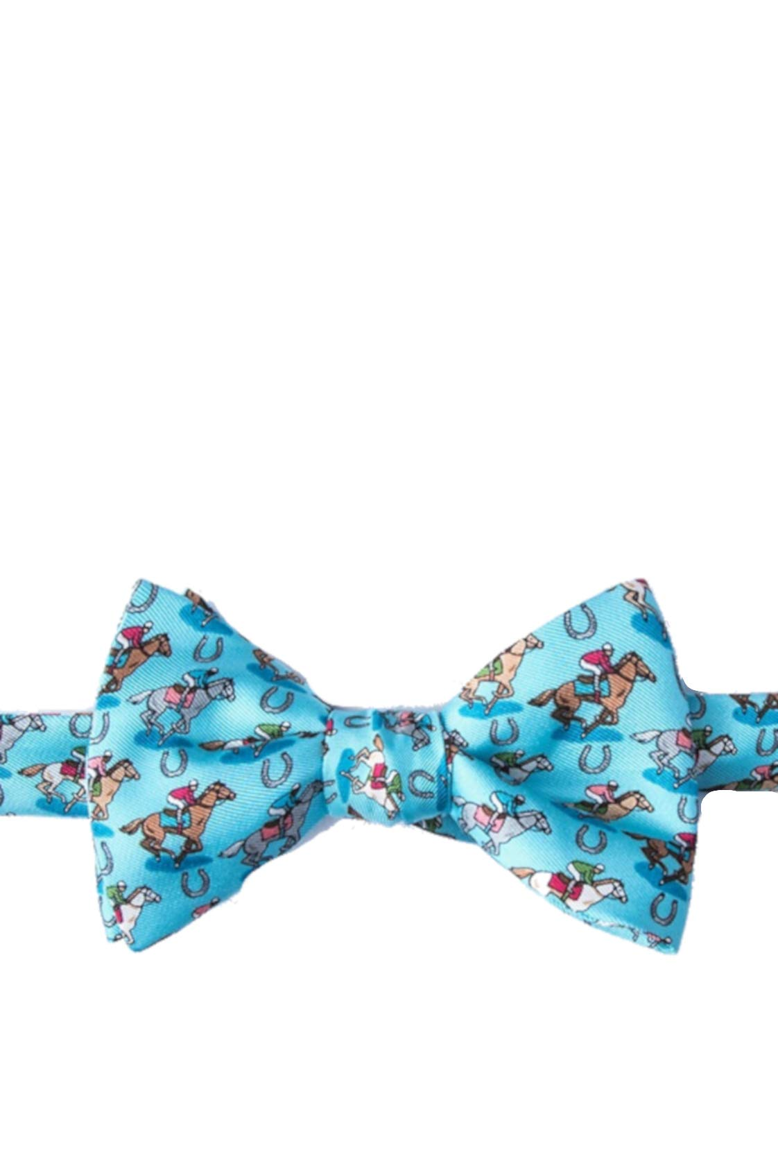 Men's 100% Silk Pony Up Horse Racing Kentucky Derby Day Butterfly Bow Tie (Blue)