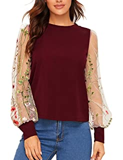 ROMWE Womens Embroidered Floral Mesh Bishop Sleeve Loose Casual Blouse Top