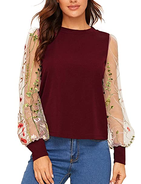 e14f3af198c21b Romwe Women's Embroidered Floral Mesh Bishop Sleeve Loose Casual Blouse Top  Burgundy S