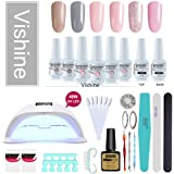 Vishine Gel Nail Polish Starter Kit, 48W LED Nail Dryer Lamp Base Top Coat 6 Pretty Colors Nail File Manicure Tools Matte Top Coat for Nail Art #02