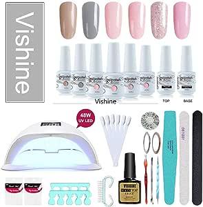 Vishine Gel Nail Polish Starter Kit, 48W LED Nail Dryer Lamp Base Top Coat 6 Pretty Colors Nail File Manicure Tools Matte Top Coat for Nail Art #02