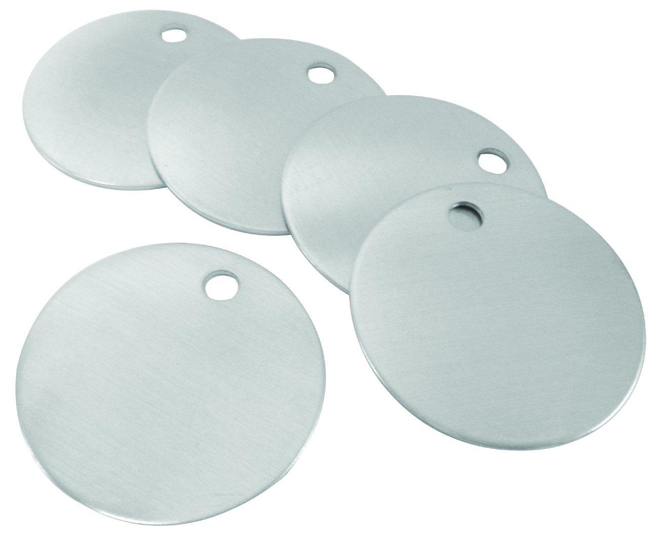 CH Hanson Blank Metal Tags - 1-1/2'' Round with Hole, Aluminum 18 Gauge, Model 1098A - Pack of 100 by CH Hanson