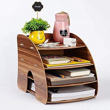 Organizador de escritorio de madera, multifunción, 4 compartimentos, para documentos, arco de luz, caja de almacenaje, estantería para oficina, hogar, estudiantes, libros, color beige 24.5 x 34 x 27cm: Amazon.es: Oficina y papelería