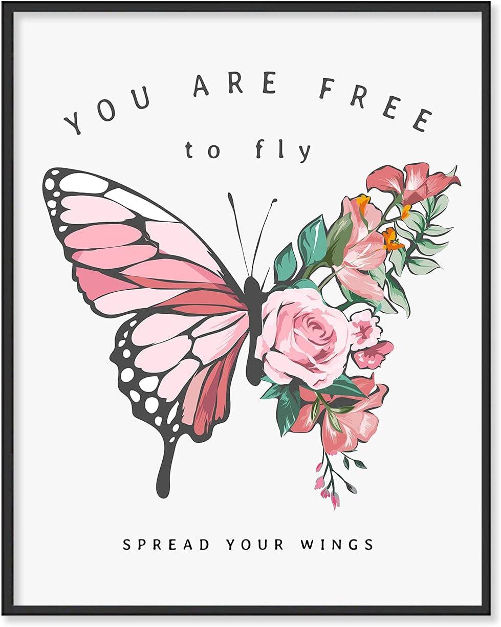 Inspirational Wall Art | Inspirational Wall Art for Girls, Butterfly Wall Art (11x14 inches) | Inspirational Quotes, Butterfly Room Decor For Girls Bedroom | Butterfly Art Wall Decor, UNFRAMED