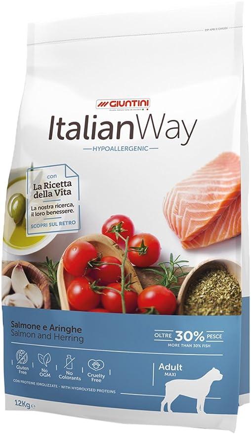 Italian Way Alimento para Perros hipoalergénico de salmón y argollas – Adult – Maxi – 12 kg