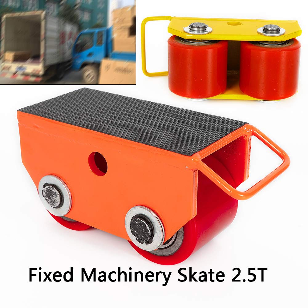 TFCFL 2.5T Fixed Steel Machinery Skate w/Strong Rigid PU Roller & Rubber Surface Cast Steel + PU (Yellow)