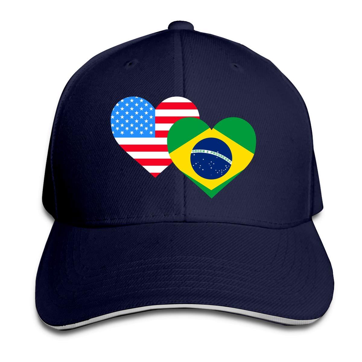 JustQbob1 American Brazil Heart Flag Outdoor Snapback Sandwich Cap Adjustable Baseball Hat Plain Cap