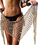 Crochet Beach ups Sarong-Women Cover Up Wrap With Shells Pailletes ( 7 Colors,Size 31.579in)