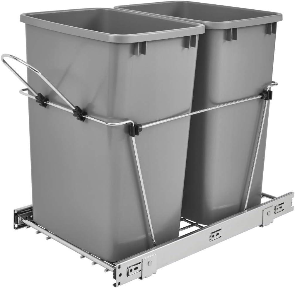 Rev-A-Shelf - RV - Contenedor de basura doble de 35 qt, color negro y cromado