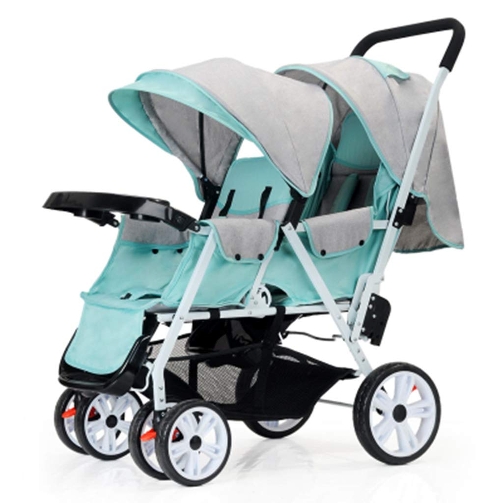 OCYE Double Stroller/Twin Tandem Baby Stroller/Foldable Double Seat Baby Stroller, Light Adjustable backrest Oversized Storage Basket Five-Point seat Belt with Plate