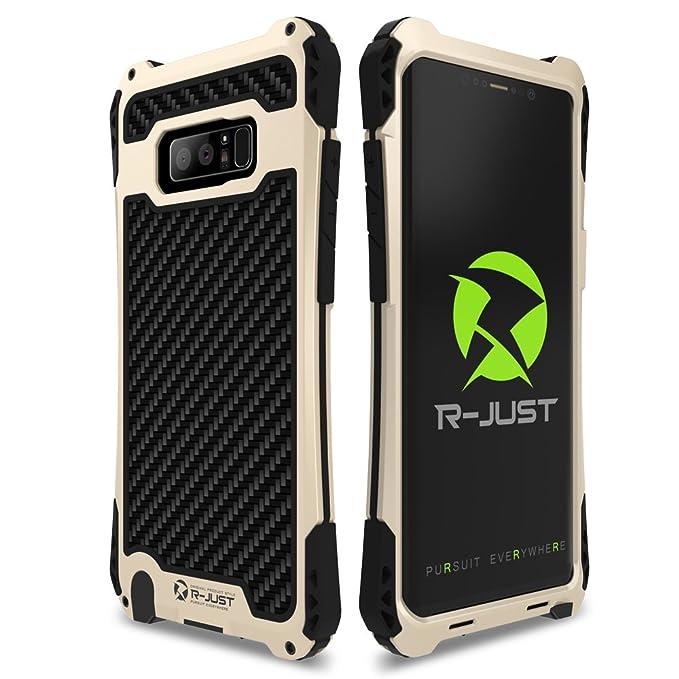 sale retailer 8c79f dedd9 Galaxy Note 8 Case, R-JUST [Amira Series] Carbon Fiber Aluminum Armor  Cover, Heavy Duty Shockproof Metal Case for Samsung Galaxy Note 8  (Black/Gold)