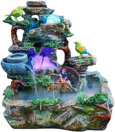 Fuentes de Interior Fuentes decorativas Creativa de rocalla cubierta de resina Cascada Fuente de agua corriente Jardín Inicio Oficina de escritorio humidificador creativa del regalo de cumpleaños Esta: Amazon.es: Hogar