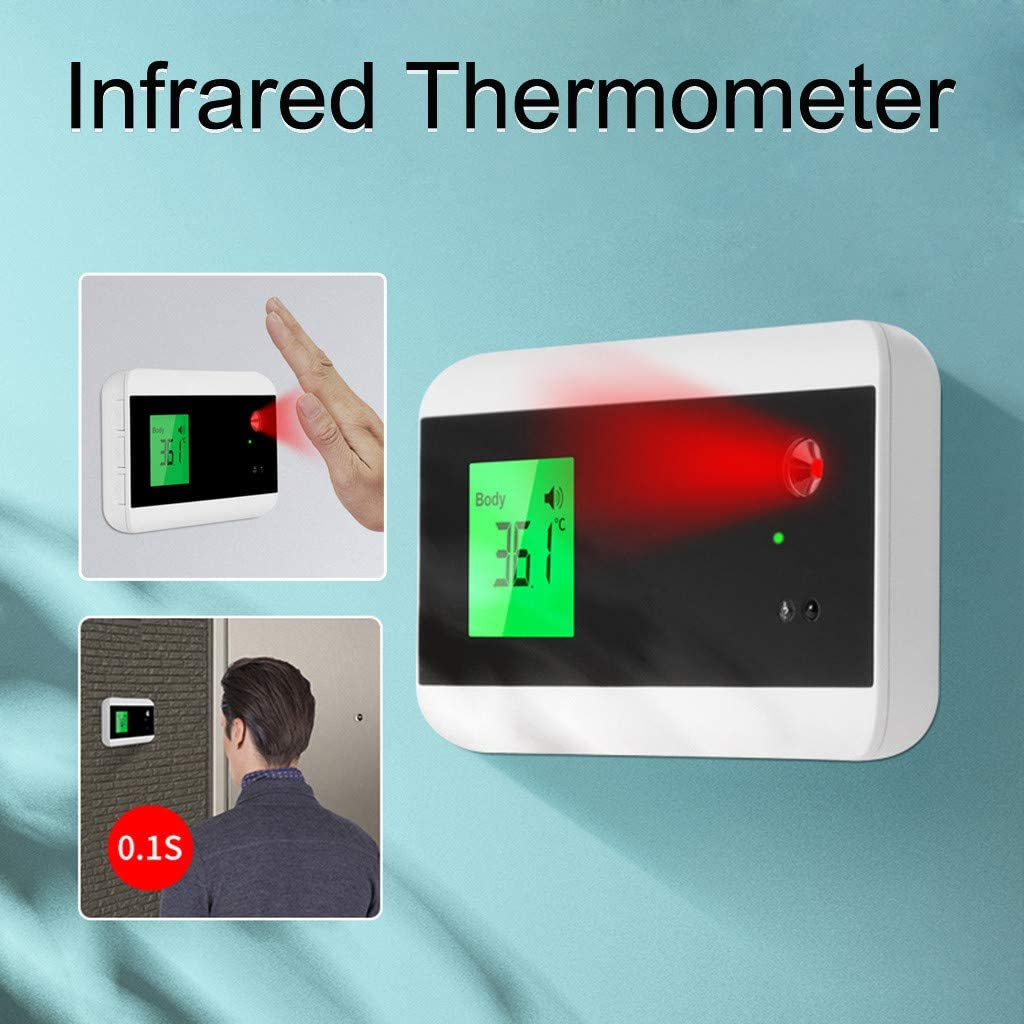 Baohooya Wall Mounted Non-Contact Forehead Infrared Thermometer with fever alarm Household Office Use No-Touch Infrared Thermometer for Adult Kids High Precision Instant-Read LCD Display Thermomete