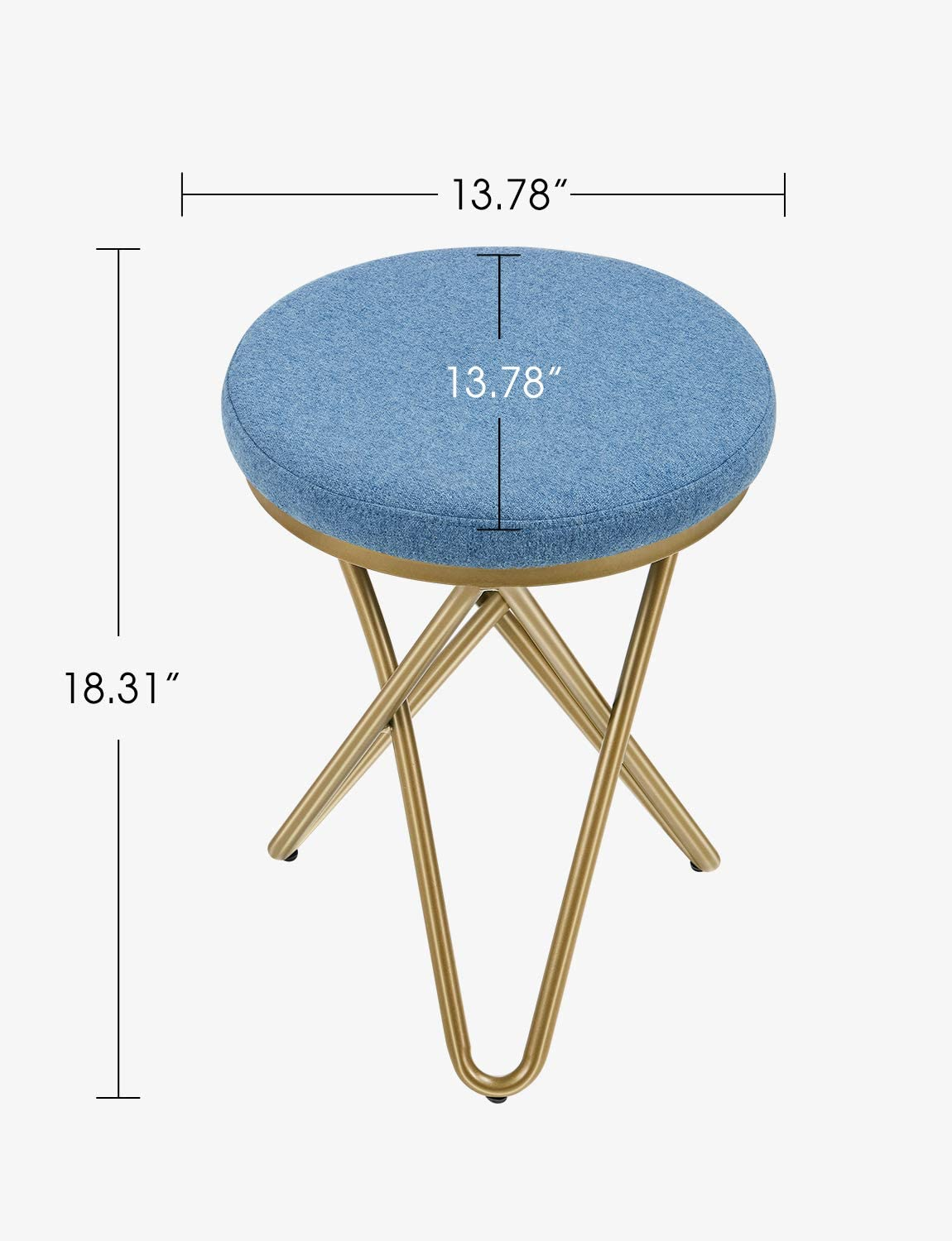 Kealive Vanity Chair Vanity Stool with Metal Legs, Small Padded Makeup Stool for Bathroom Bedroom Dresser, Round Modern Fabric vanity bench Footstool Easy Assembly, Blue