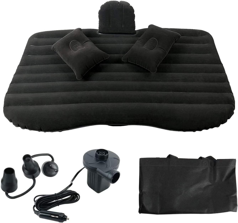 NovelBee Back Flocking Surface Car Travel Inflatable Mattress Air Bed Camping with 2 Air Pillows,Inflatable Pump and Handbag