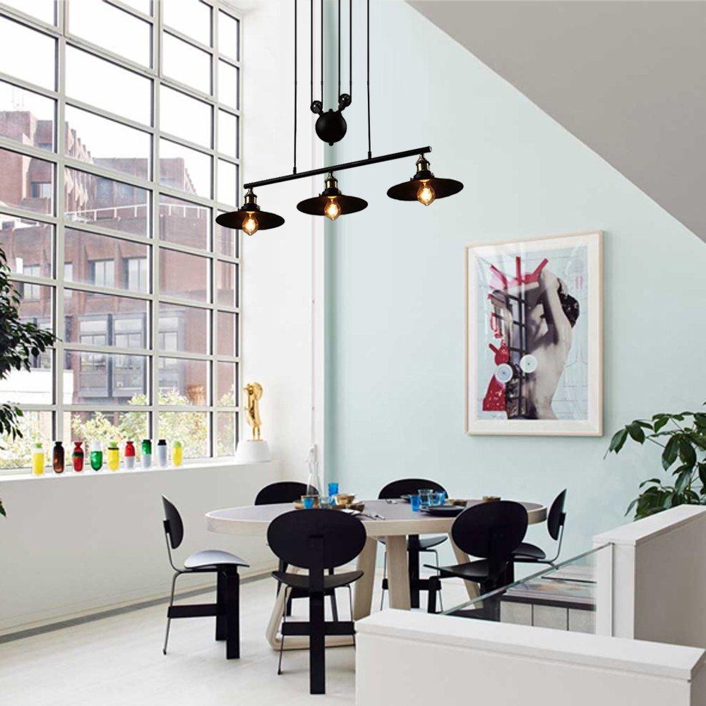 BAYCHEER de la Industria haenge lámpara retro industria lámpara negro kueche Vintage - Lámpara de techo (3 pantallas de lámpara regulable en ...