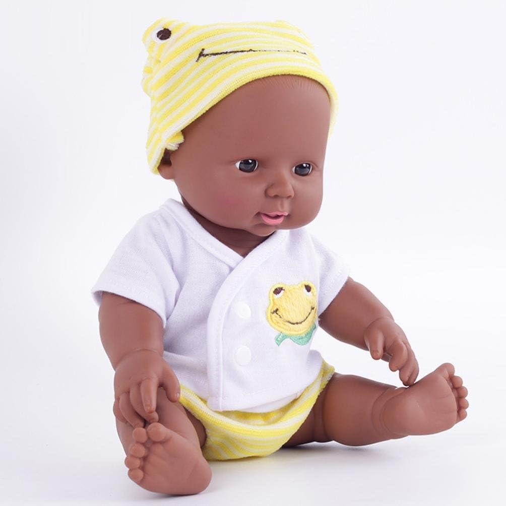 US 28cm Black African Handmade Reborn Baby Girl Dolls Vinyl Body Silicone Gifts