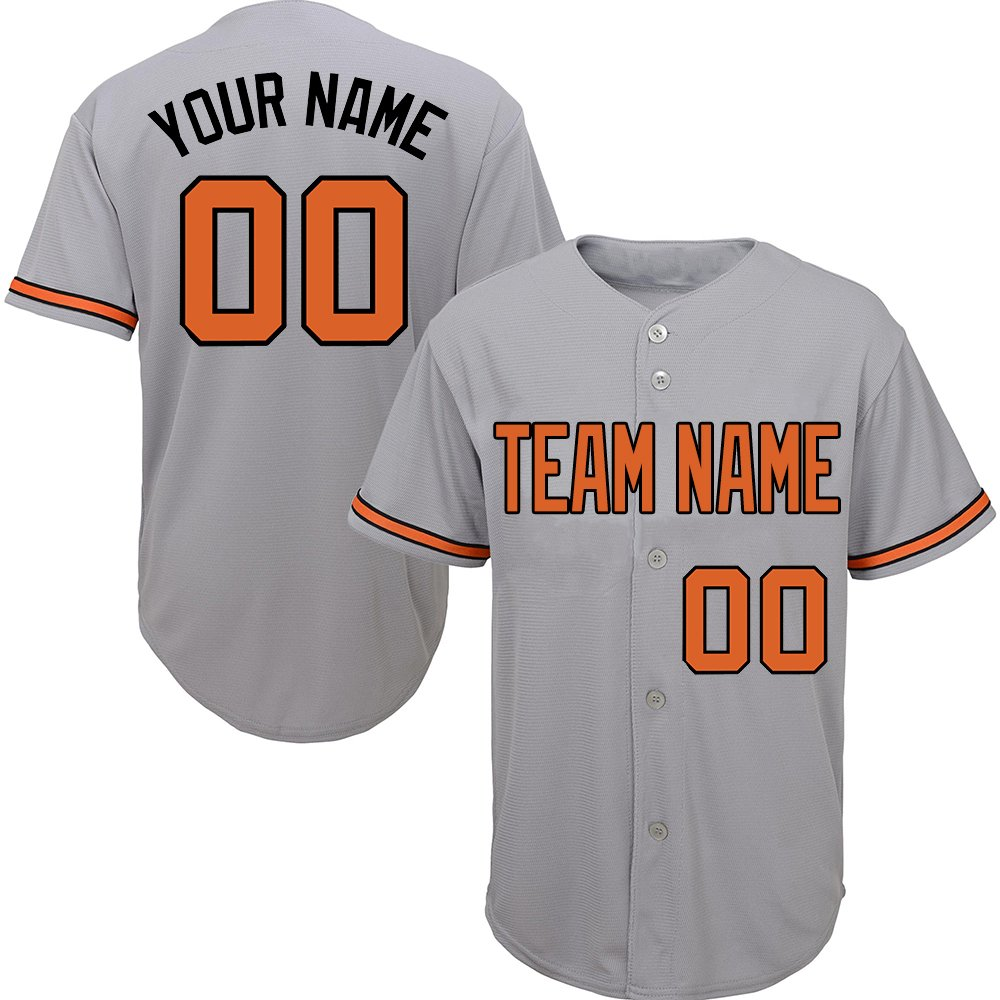 Custom Men's Gray Baseball Jerseys Button Down with Embroidered Team Name Player Name and Numbers,Orange-Black Size S by DEHUI