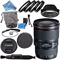 Canon EF 16-35mm f/4L IS USM Lens 9518B002 + 77mm Macro Close Up Kit + Lens Cleaning Kit + Lens Pen Cleaner + Fibercloth Bundle