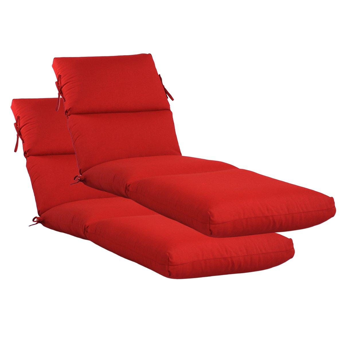 Set of 2 Outdoor Channeled Chaise Cushion 22W x 72L x 4.5H Hinge at 26'' in Olefin Fabric Ruby by Comfort Classics Inc.