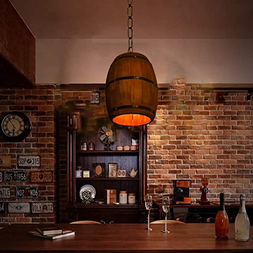 Retro Wine Barrel Wood Hanging Ceiling Lamp Lighting Fixtures Rustic Restaurant Cafe Kitchen Bar Light Crafts Pendant Nostalgic Cafe Country Antique Chandelier