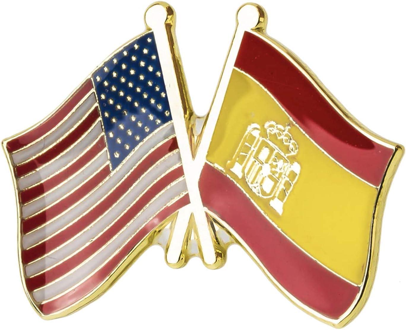 Pin de Solapa Bandera de Estados Unidos y Bandera de España: Amazon.es: Ropa y accesorios