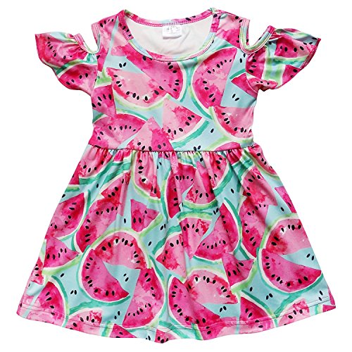 Shoulder Flutter Sleeve Dress - So Sydney Toddler Girls Cold Shoulder Flutter Short Sleeve Stretch Cotton Dress (XS (2T), Watermelon Picnic)