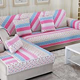 European Anti-skid Sofa Mat/Cotton Four Seasons Common Sofa Towel/Simple Modern Sofa Towel/Solid Wood Cushion Cover Hood-D 90x180cm(35x71inch)